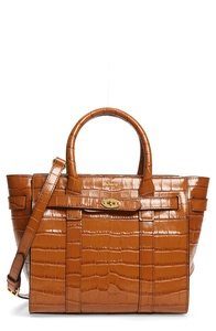 Mini Zipped Bayswater Croc Embossed Leather Satchel