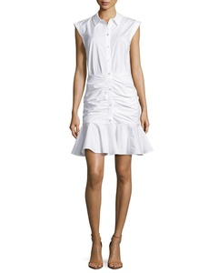 Bell Sleeveless Ruched Stretch Poplin Dress