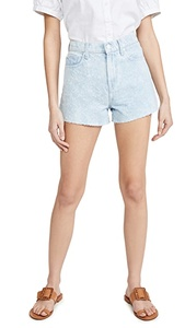 High Waist Shorts with Cutoff Hem