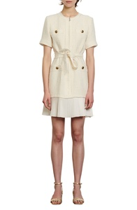 Joana Short Sleeve Tiered Tweed Dress