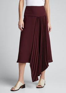 Selma Asymmetrical Silk Crepe Skirt